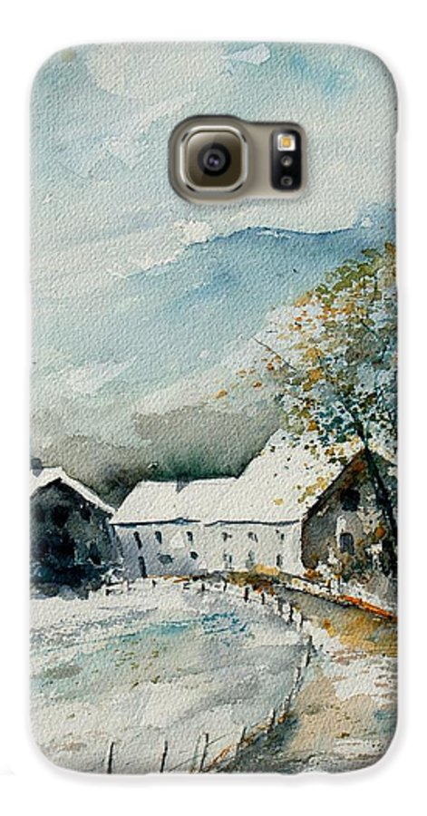 River Galaxy S6 Case featuring the painting Watercolor Sechery 1207 by Pol Ledent