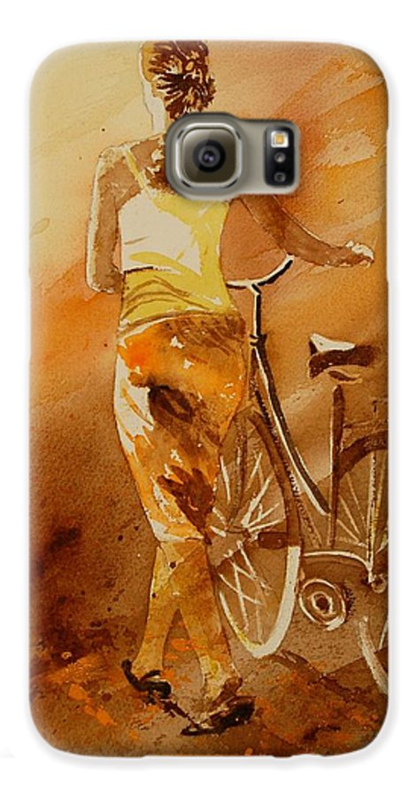 Figurative Galaxy S6 Case featuring the painting Watercolor With My Bike by Pol Ledent
