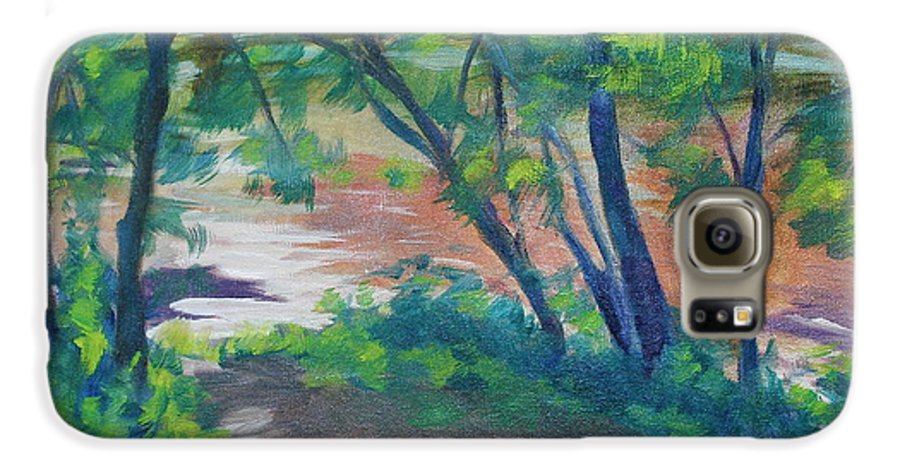 Landscape Galaxy S6 Case featuring the painting Watercress Beach On The Current River  by Jan Bennicoff