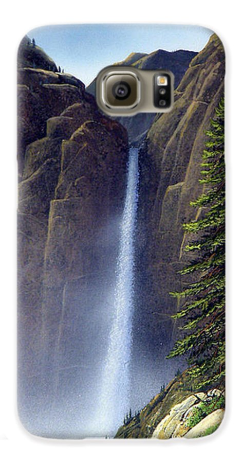 Wilderness Galaxy S6 Case featuring the painting Waterfall by Frank Wilson
