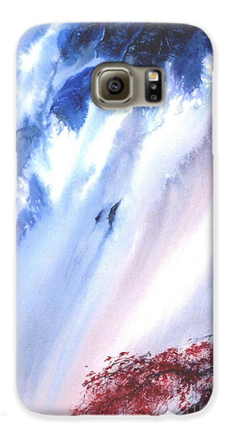 A Waterfall- A Watercolor Painting Galaxy S6 Case featuring the painting Waterfall by Mui-Joo Wee