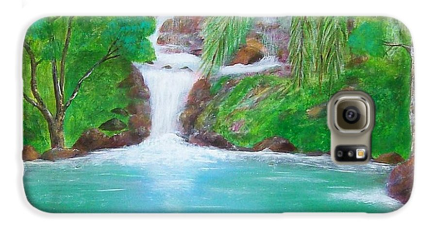 Waterfall Galaxy S6 Case featuring the painting Waterfall by Tony Rodriguez