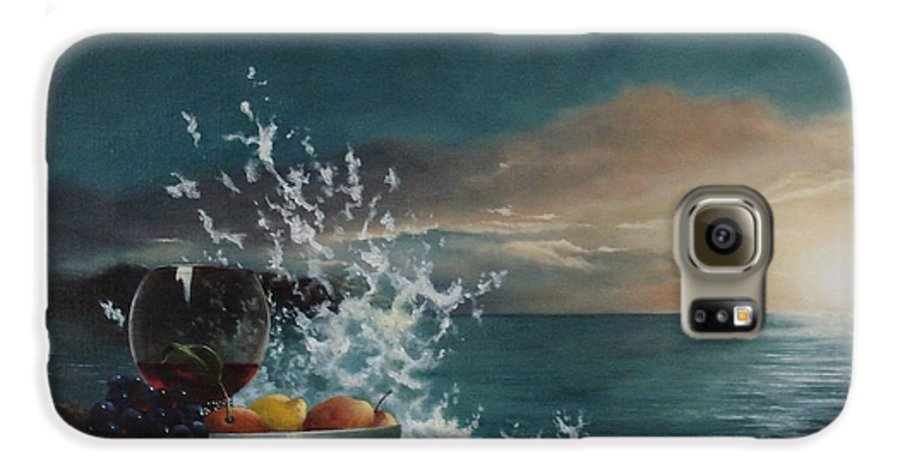 Seascape Galaxy S6 Case featuring the painting Wave by Tjerk Reijinga
