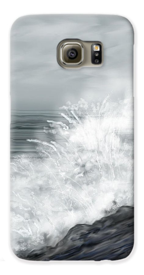 Seascape Galaxy S6 Case featuring the painting Waves Crashing The Rocks In Ireland by Anne Norskog