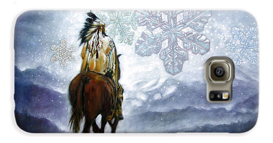 American Indian Galaxy S6 Case featuring the painting We Vanish Like The Snow Flake by John Lautermilch