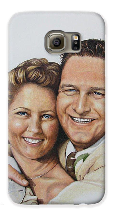 Wedding Portraits Galaxy S6 Case featuring the painting Wedding Portrait Jeremy N Katie by Joan Garcia