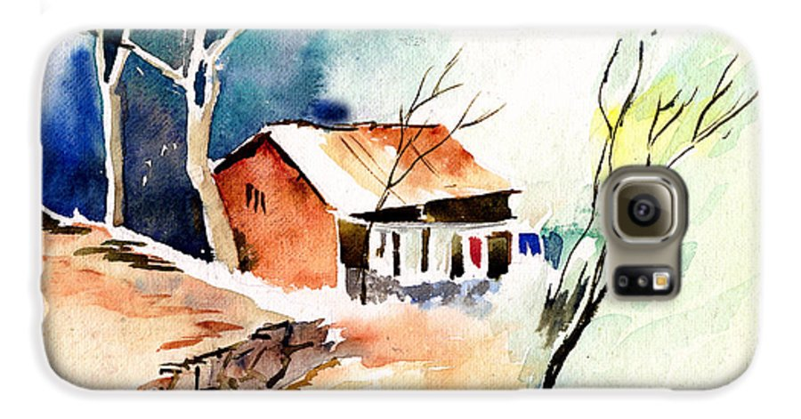 Nature Galaxy S6 Case featuring the painting Weekend House by Anil Nene