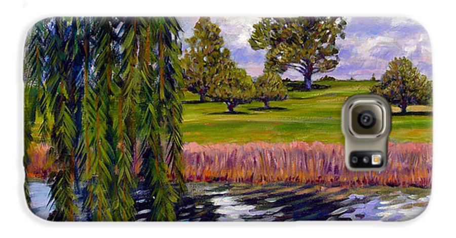 Landscape Galaxy S6 Case featuring the painting Weeping Willow - Brush Colorado by John Lautermilch