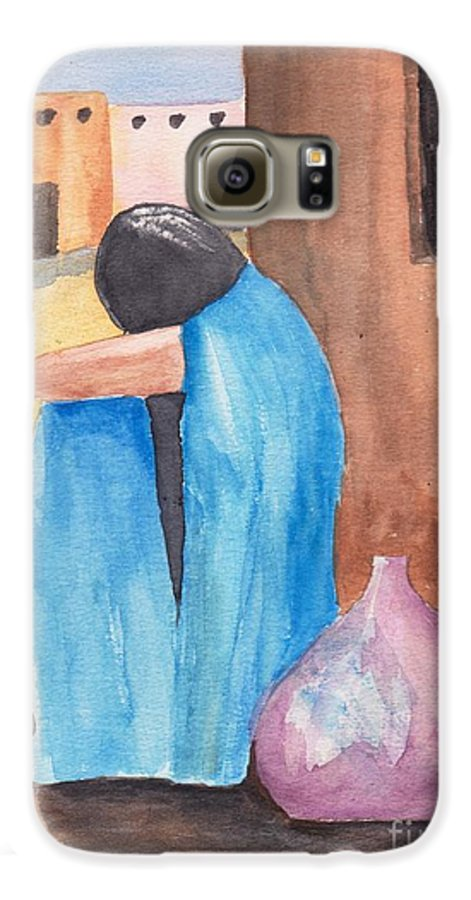 Southwest Galaxy S6 Case featuring the painting Weeping Woman by Susan Kubes