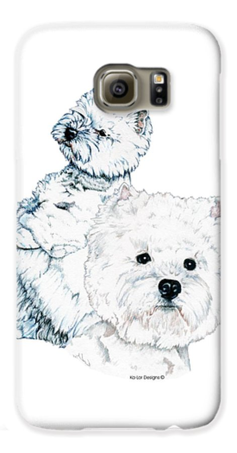 West Highland White Terrier Galaxy S6 Case featuring the drawing West Highland White Terriers by Kathleen Sepulveda