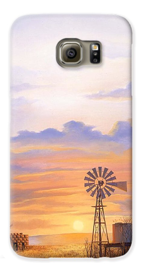 Windmill Galaxy S6 Case featuring the painting West Texas Sundown by Howard Dubois