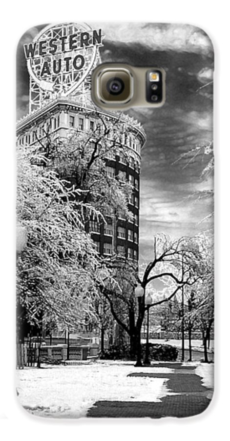 Western Auto Kansas City Galaxy S6 Case featuring the photograph Western Auto In Winter by Steve Karol