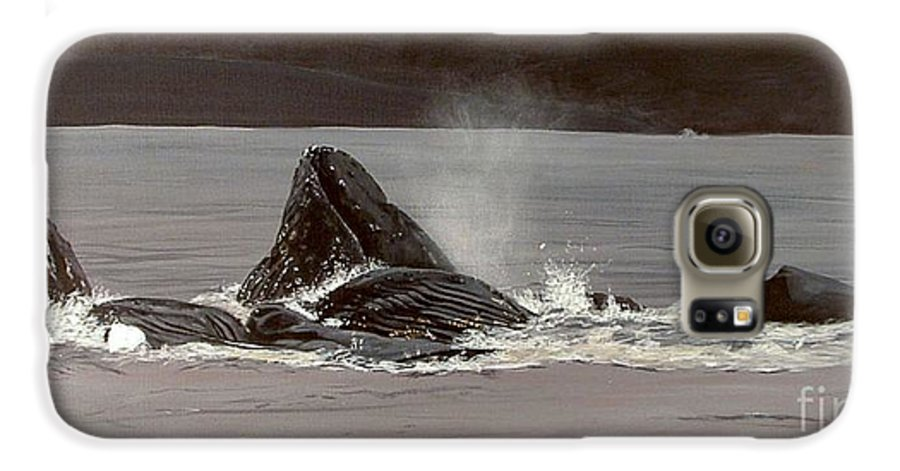 Whale Galaxy S6 Case featuring the painting Whales Feeding by Shawn Stallings
