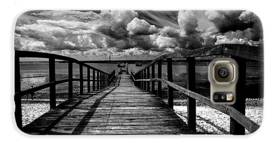Southend On Sea Wharf Clouds Beach Sand Galaxy S6 Case featuring the photograph Wharf At Southend On Sea by Avalon Fine Art Photography