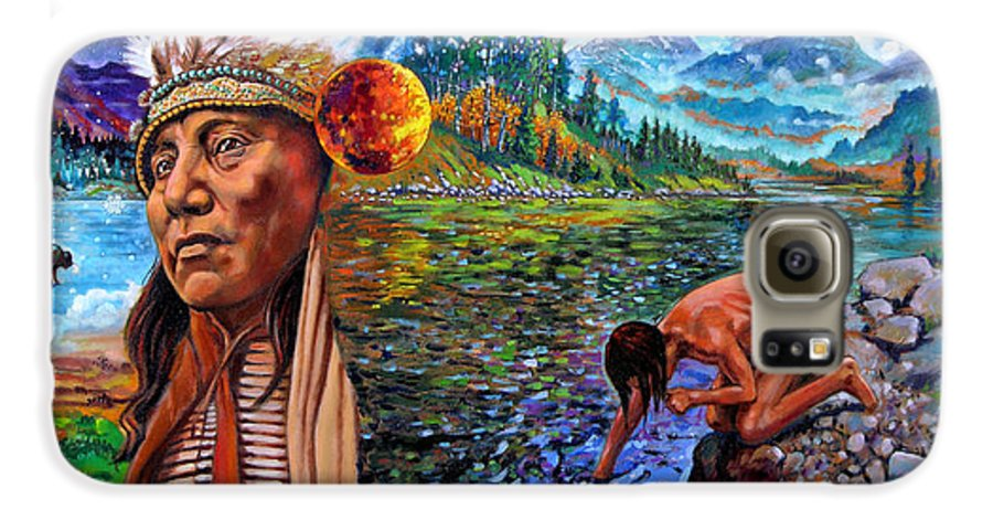 Indian Galaxy S6 Case featuring the painting What Is Life by John Lautermilch