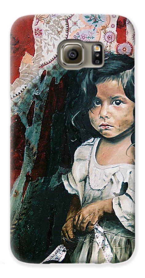 Asian Girl Galaxy S6 Case featuring the painting What Is My Worth by Teresa Carter