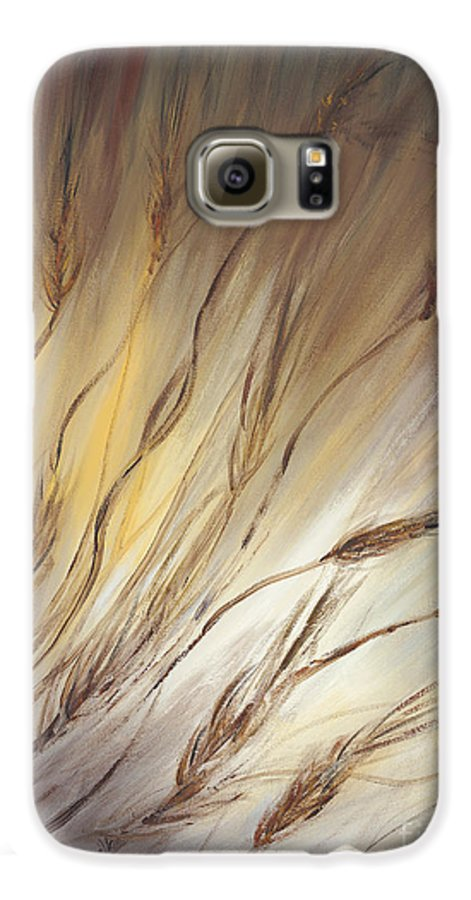 Wheat Galaxy S6 Case featuring the painting Wheat In The Wind by Nadine Rippelmeyer