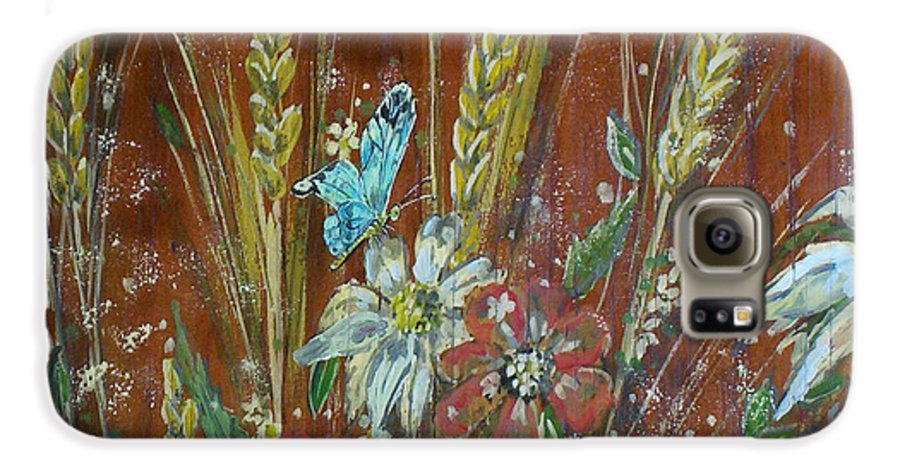 Flowers Galaxy S6 Case featuring the painting Wheat 'n' Wildflowers I by Phyllis Mae Richardson Fisher