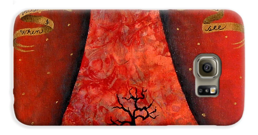 Landscape Galaxy S6 Case featuring the painting When I Pull Back The Veil by Pauline Lim