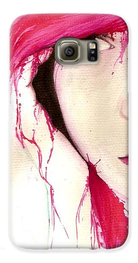 Pink Girl Galaxy S6 Case featuring the drawing Where Do You Think Beauty Goes by Freja Friborg