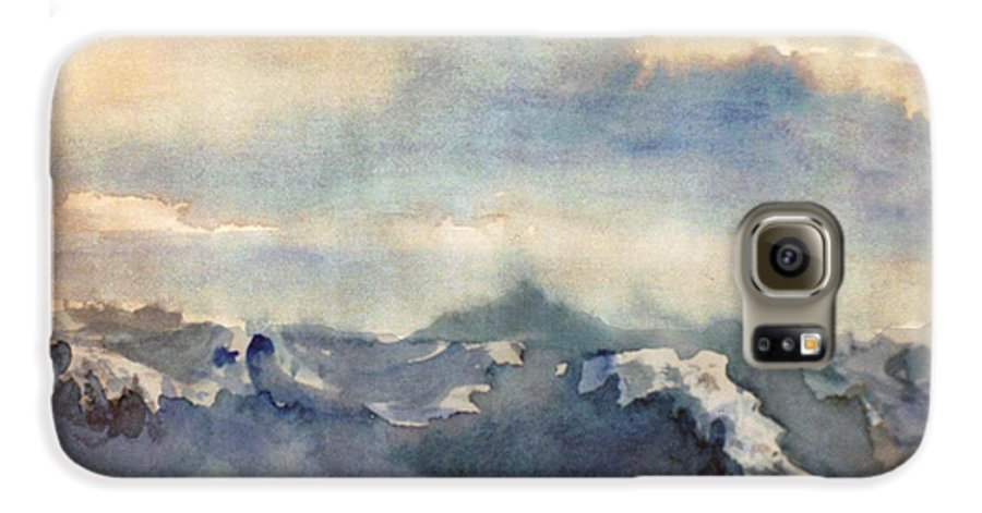 Seascape Galaxy S6 Case featuring the painting Where Sky Meets Ocean by Steve Karol