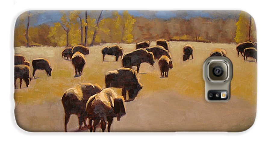 Buffalo Galaxy S6 Case featuring the painting Where The Buffalo Roam by Tate Hamilton