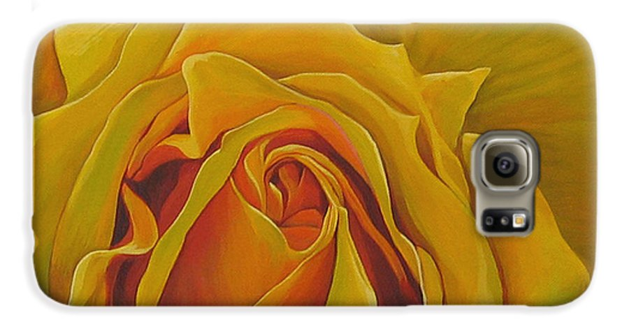 Yellow Rose Galaxy S6 Case featuring the painting Where The Rose Is Sown by Hunter Jay