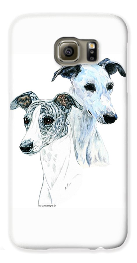 Whippet Galaxy S6 Case featuring the painting Whippet Pair by Kathleen Sepulveda