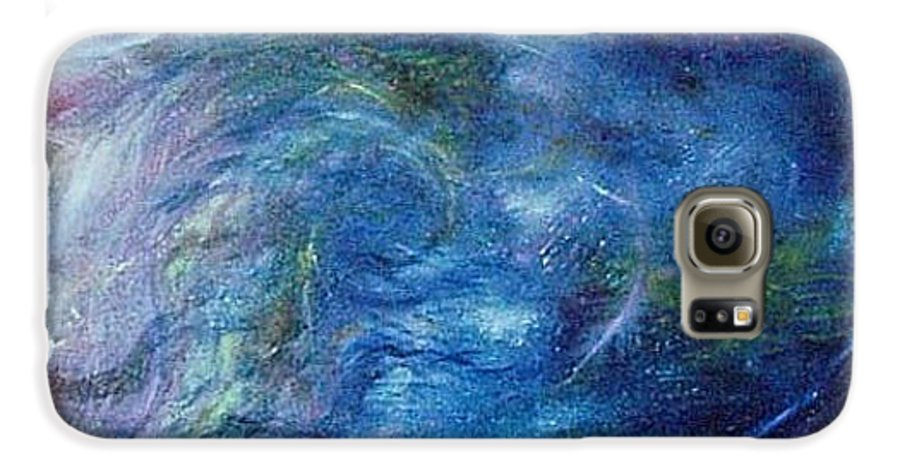 Abstract Galaxy S6 Case featuring the painting Whispers In A Sea Of Blue by Nancy Mueller