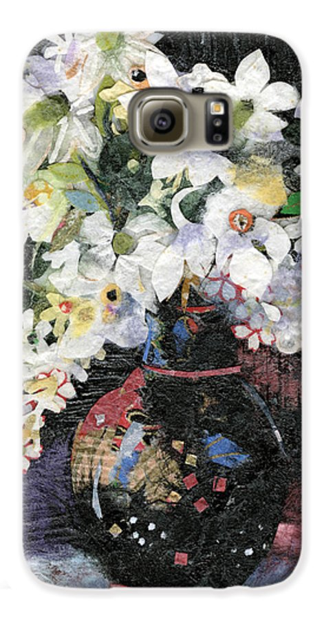Limited Edition Prints Galaxy S6 Case featuring the painting White Celebration by Nira Schwartz