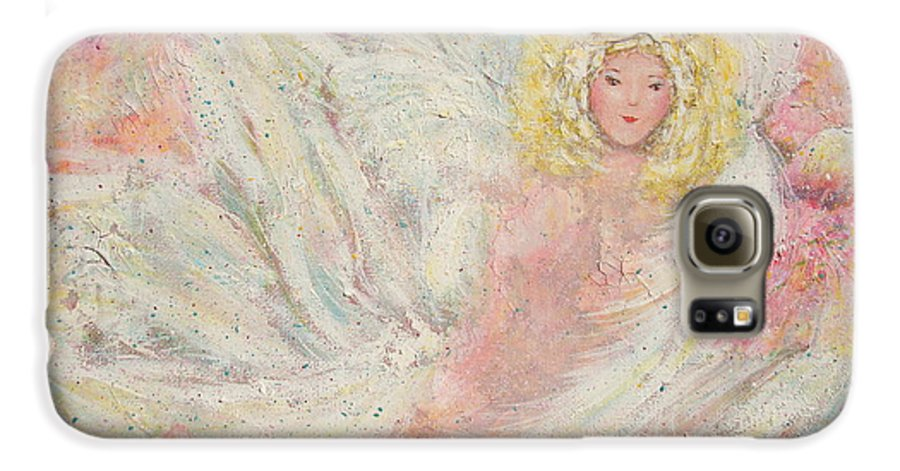 Angel Galaxy S6 Case featuring the painting White Feathers Secret Garden Angel 4 by Natalie Holland