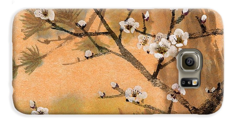 White Plum Blossoms Galaxy S6 Case featuring the painting White Plum Blossoms With Pine Tree by Eileen Fong