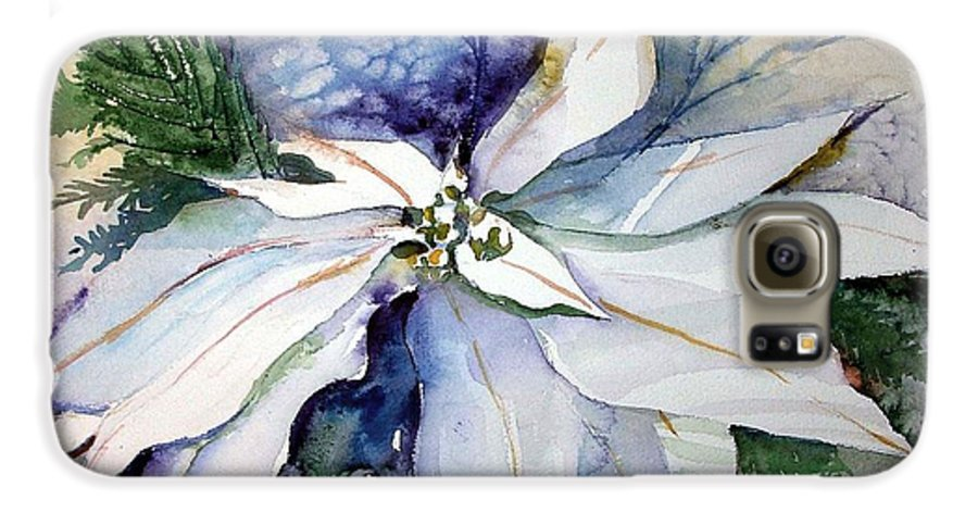 Floral Galaxy S6 Case featuring the painting White Poinsettia by Mindy Newman