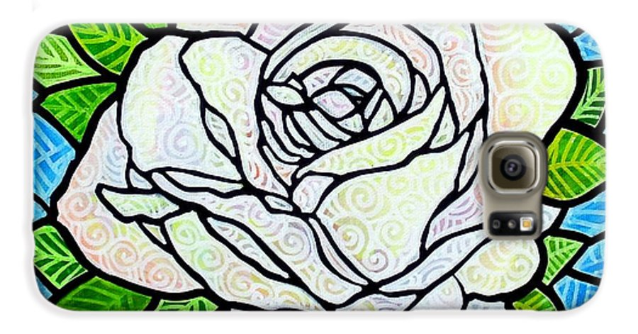 White Galaxy S6 Case featuring the painting White Rose by Jim Harris
