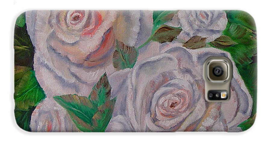 Roses Galaxy S6 Case featuring the painting White Roses by Quwatha Valentine