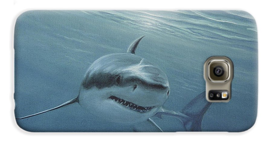 Shark Galaxy S6 Case featuring the painting White Shark by Angel Ortiz