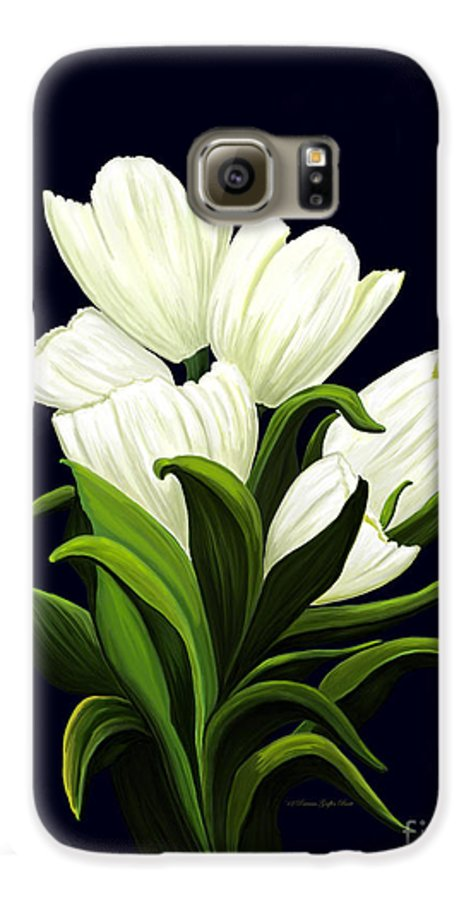 Mixed Media Galaxy S6 Case featuring the painting White Tulips by Patricia Griffin Brett