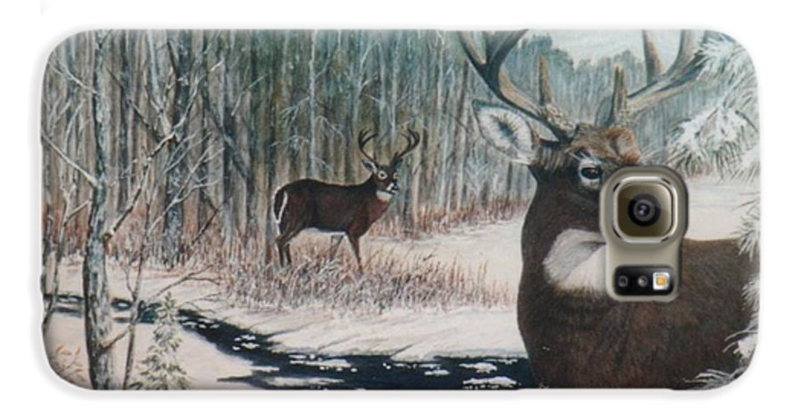 Deer; Snow; Creek Galaxy S6 Case featuring the painting Whitetail Deer by Ben Kiger