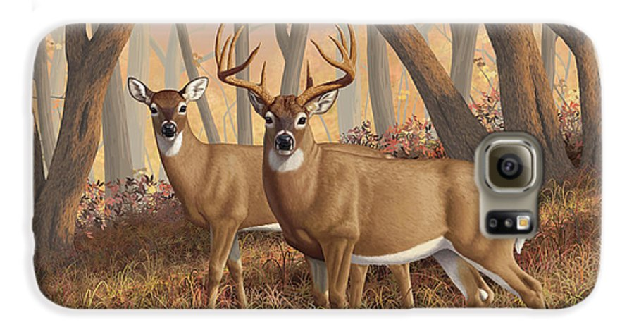 Deers Galaxy S6 Case featuring the painting Whitetail Deer Painting - Fall Flame by Crista Forest
