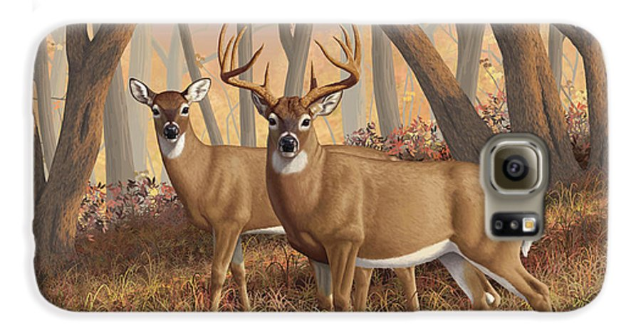 Deers Galaxy S6 Case featuring the digital art Whitetail Deer Painting - Fall Flame by Crista Forest