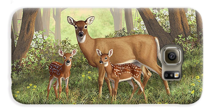 Whitetail Deer Galaxy S6 Case featuring the painting Whitetail Doe And Fawns - Mom's Little Spring Blossoms by Crista Forest