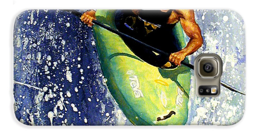 Kayaker Galaxy S6 Case featuring the painting Whitewater Kayaker by Lynee Sapere