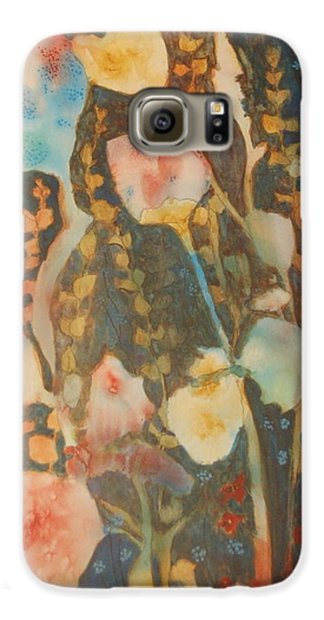 Flower Abstract Galaxy S6 Case featuring the painting wild flowers in the wind I by Henny Dagenais