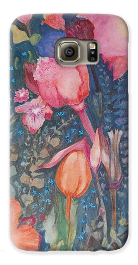 Flower Abstract Galaxy S6 Case featuring the painting Wild Flowers In The Wind II by Henny Dagenais