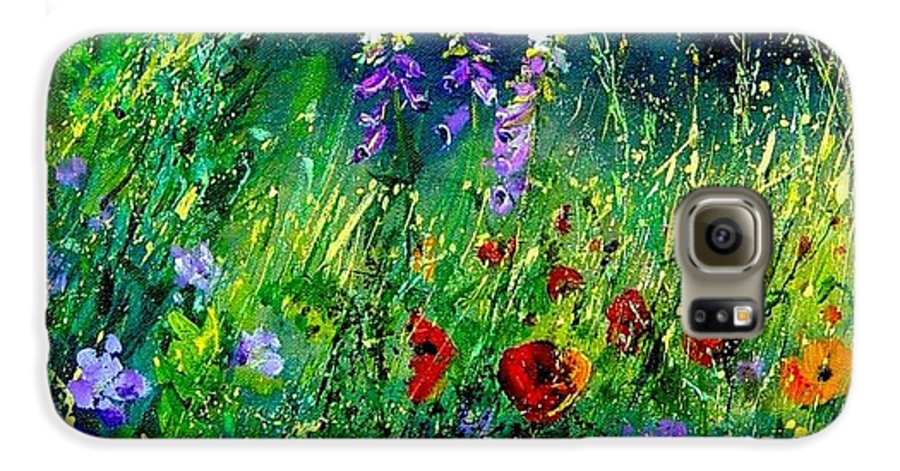 Poppies Galaxy S6 Case featuring the painting Wild Flowers by Pol Ledent