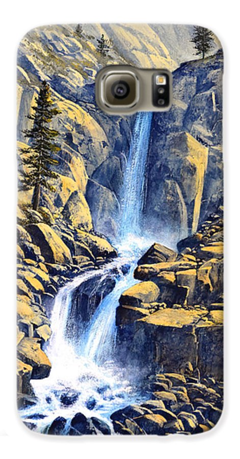 Wilderness Waterfall Galaxy S6 Case featuring the painting Wilderness Waterfall by Frank Wilson