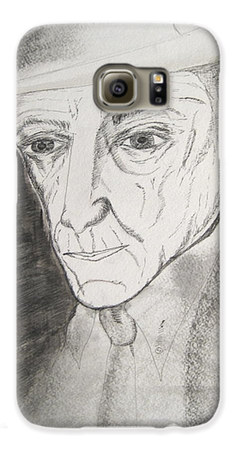 23 Author Black Burroughs Enigma Ink Man Music Painting Portrait Revolutionary Watercolor William Galaxy S6 Case featuring the painting William S. Burroughs by Darkest Artist