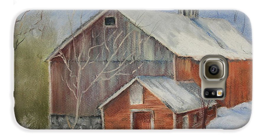 Barn Galaxy S6 Case featuring the painting Williston Barn by Carol Mueller