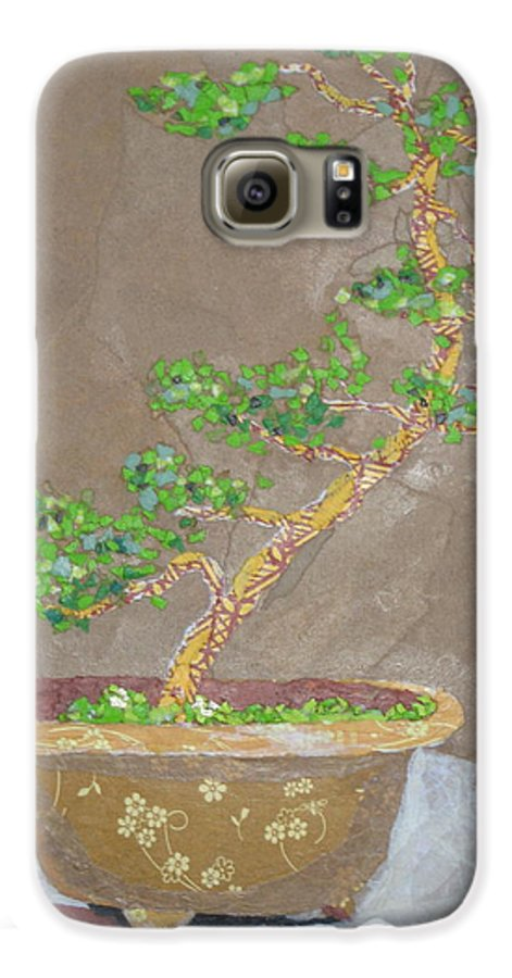 Banzai Tree Galaxy S6 Case featuring the painting Windswept Juniper by Leah Tomaino