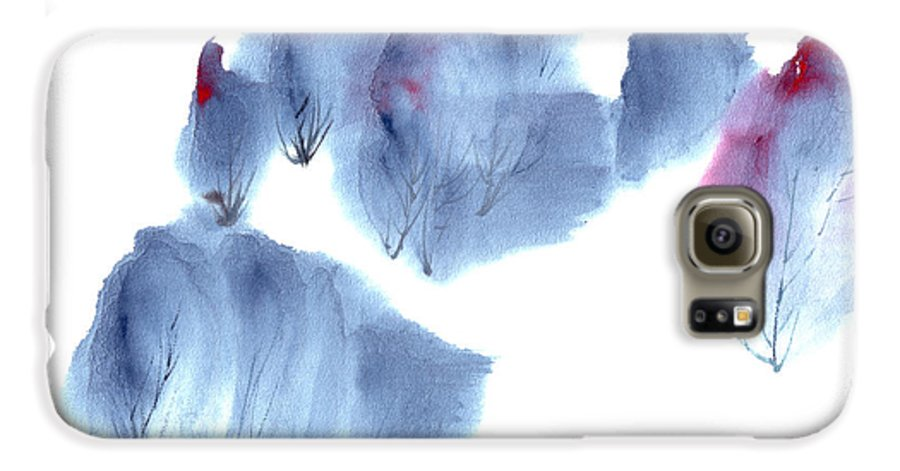 Waving Trees In A Forest On A Windy Day. This Is A Contemporary Chinese Ink And Color On Rice Paper Painting With Simple Zen Style Brush Strokes.  Galaxy S6 Case featuring the painting Windy Forest by Mui-Joo Wee